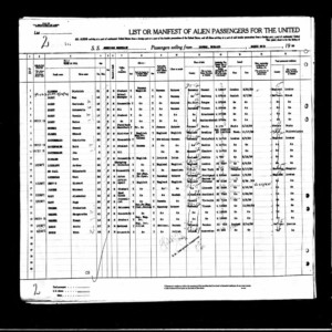 The manifest from the ship that brought the Bondy family to the U.S. in 1939.